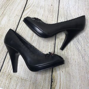 Chinese Laundry Glace Peep Toe Leather Pump Heels